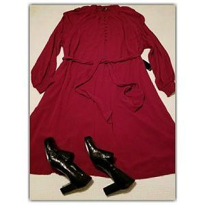 Eloquii Burgandy Peasant Smocked Neck Dress 24 NWT