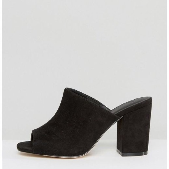 ee45062e91b Black suede mules block heel. M 596cfc7d9c6fcfe60c007953