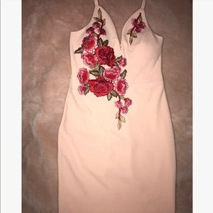 "Other - ""Going Out"" light pink dress with floral applique"