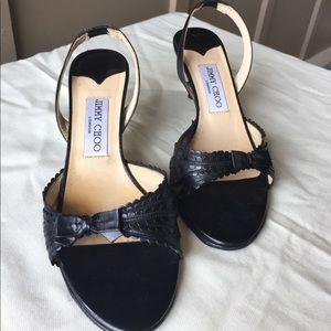 Jimmy Choo black leather slingback sandals