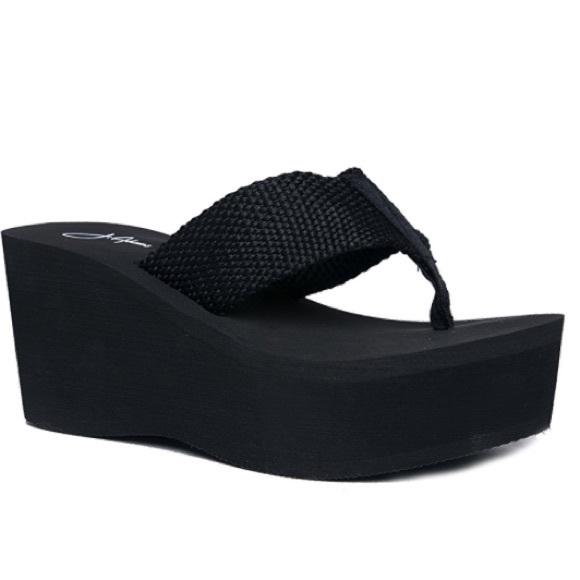 b13fb3f236 J. Adams Shoes | High Platform Foam Sandal 7 Wedge Flip Flop Black ...