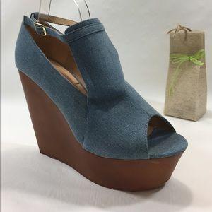 Blue denim peep toe wedge sandal