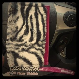 Handbags - *final price* Fuzzy cell phone wristlet