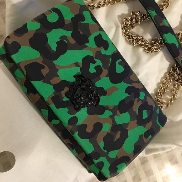NWT Versace Green Camo Flap Bag d2eedda9db398