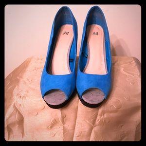 Blue and Black Peep Toe Shoe