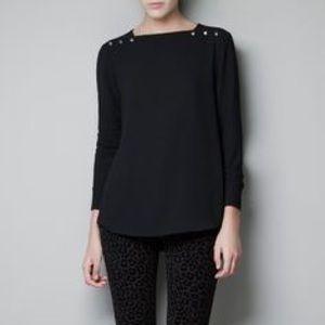 Zara Press Stud Shoulder Black Blouse EUC M