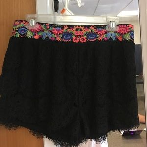 Black lace shorts with floral waist