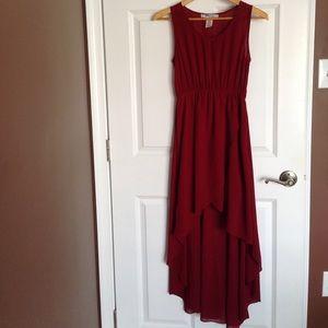 High-low Burgundy Dress