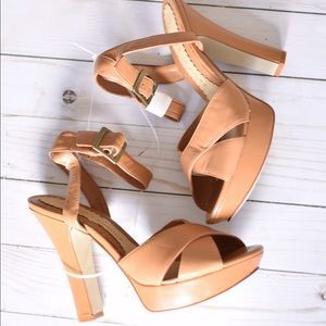 NWOB Chinese Laundry Strappy Tan Heels