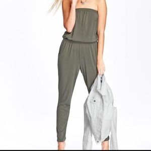 Olive Strapless Jumpsuit