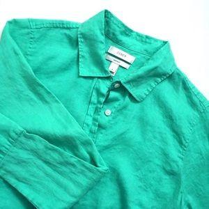 J. Crew Mint Green Linen Button Down