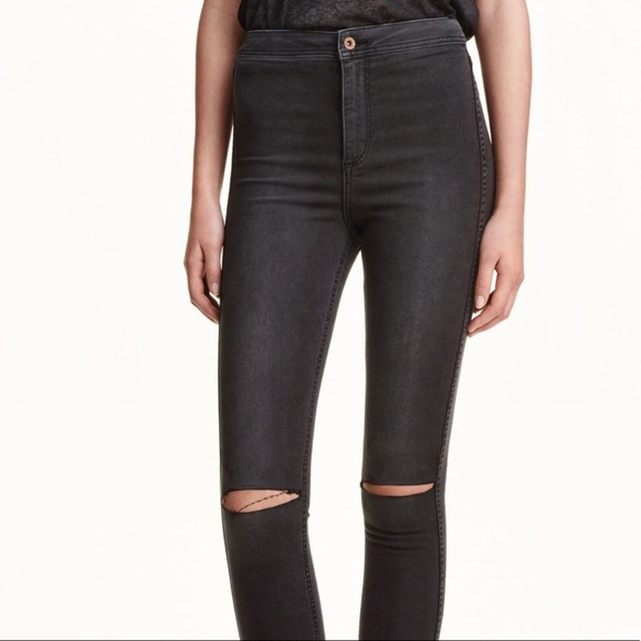 outlet boutique top-rated quality outlet h&m grey high waisted ripped jeans.