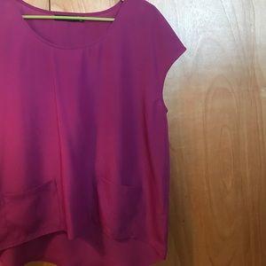 3de8521c6af752 Trouve Tops - Pink silk blouse