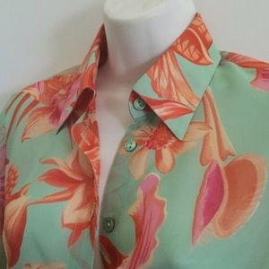 Versace Versus Orange and Turquoise Silk Blouse 40