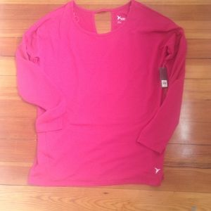 Old Navy Active Pink Long Sleeve Deep V Open Back