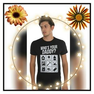 Mens WHO'S YOUR DADDY? Graphic Tee Black Sz:XL