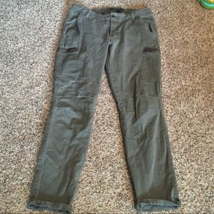 Olive green cargo skinny pants from express