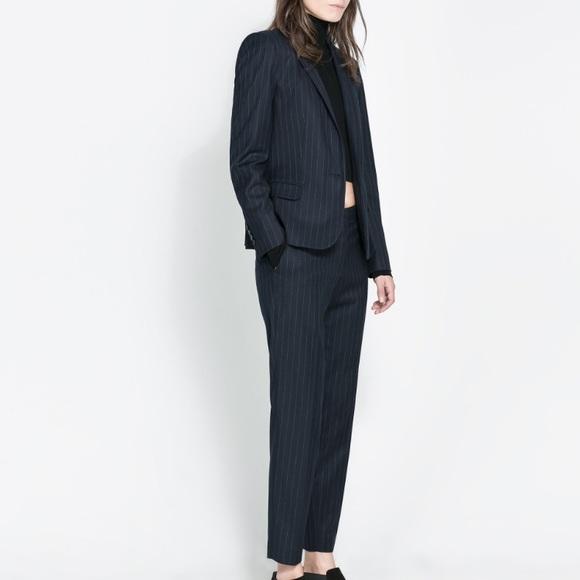 2f305290 Zara Pants | Navy Pinstripe Trousers Small | Poshmark