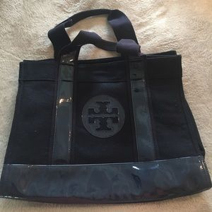 AUTHENTIC Tory Burch wool/patent leather tote