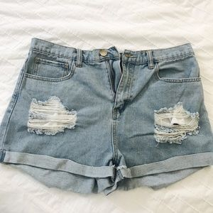 Forever 21 distressed high waisted jean shorts