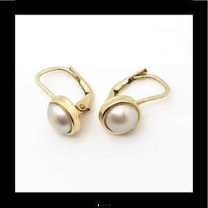 Jewelry - Stamped 14k Yellow Gold Pearl Liver Back Earrings