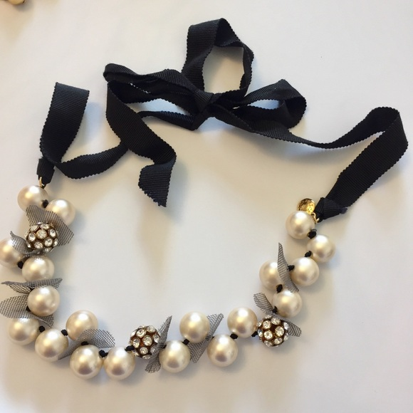 59 off j crew jewelry j crew pearl and ribbon tie for Ribbon tie necklace jewelry