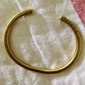 Jewelry - USA made Brass bracelet with THANKS inscribed