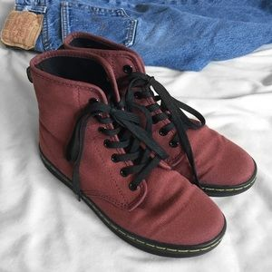 Dr. Martens Cherry Red Shoreditch Canvas Boots
