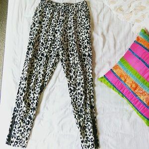 Pants - Animal print black and white Harem pants