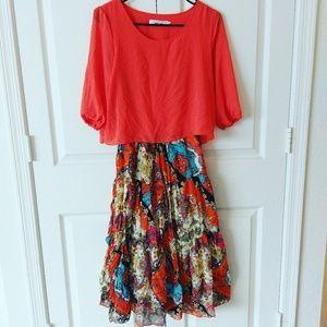 Dresses & Skirts - 🆕 colorful 3/4th sleeve midi dress