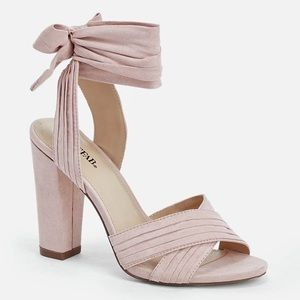 Blush LIV JustFab Wrap Heels