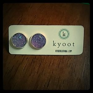 Jewelry - 🌹New🌹Purple druzy stud earrings.