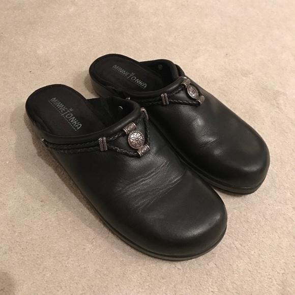 Black Leather Silver Clog Slides