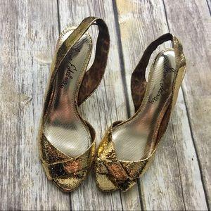Sam Edelman Gold Sling Back Heels