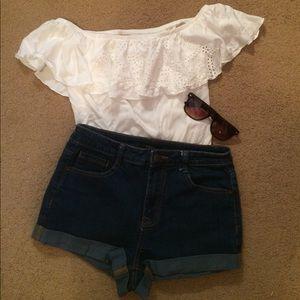 Forever 21 Dark Wash High Wasted Denim Shorts