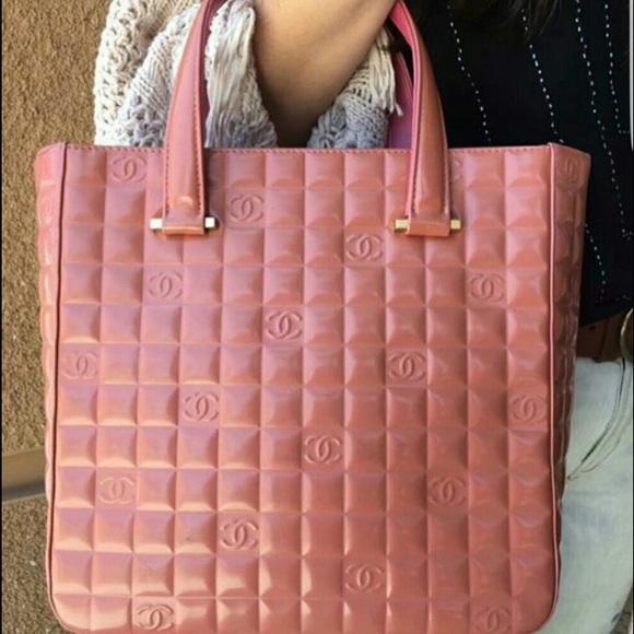 77% off CHANEL Handbags - Authentic Chanel Choc. Bar Salmon Pink ...