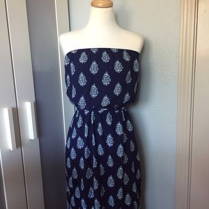 Old Navy Strapless Blue Paisley Maxi Dress