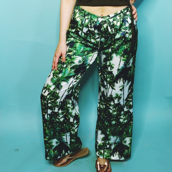 Forever 21 Pants - Palm Print Palazzo Pants