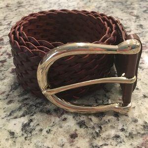 Michael Kors Leather Brown Braided Belt Medium