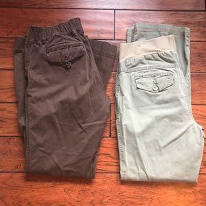 2 Pair Maternity Cargo Pants - Brown & Green