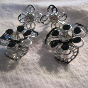 Black and chrome dangle flower rhinestone Earrings