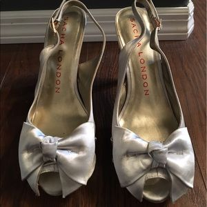 Silver Bow Heels