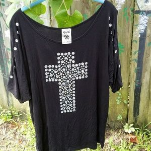 Vocal Crystal and Stone Cross Cold Shoulder Top