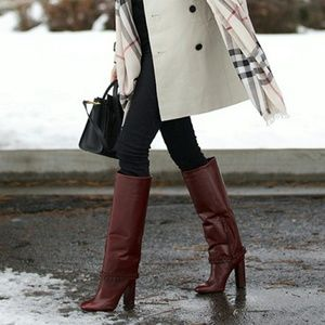 9ac85ea7fef Tory Burch Shoes - Tory Burch sarava red leather knee-high heel boots