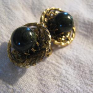 Freirich Dark Green bronzy filigree clip earrings