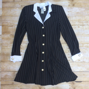 EUC Vintage pinstripe button down dress / jacket