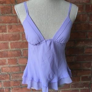 Tops - Deep Plunge Neckline Chiffon Camisole in Lilac