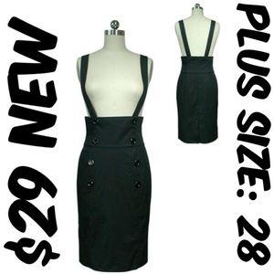 Dresses & Skirts - Plus Suspenders Pencil Skirt High Waist Clothing