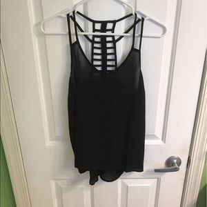 Tops - Black tank top with a cool strappy back. NWOT