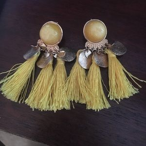 H&M Yellow Fringe Earrings